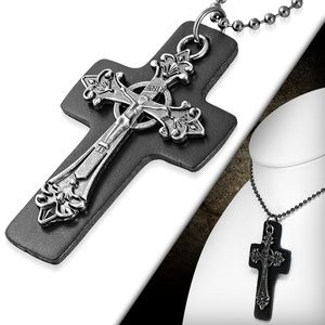 Fashion Chastity Crucifix Fleur De Lis Black